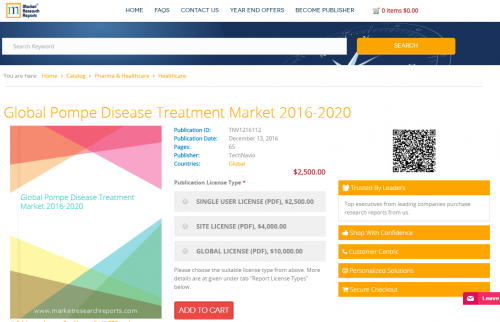 Global Pompe Disease Treatment Market 2016 - 2020'