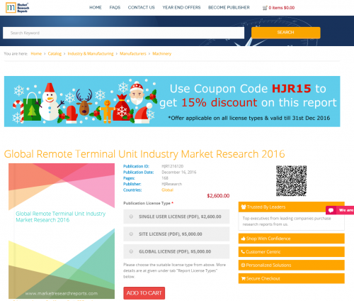 Global Remote Terminal Unit Industry Market Research 2016'