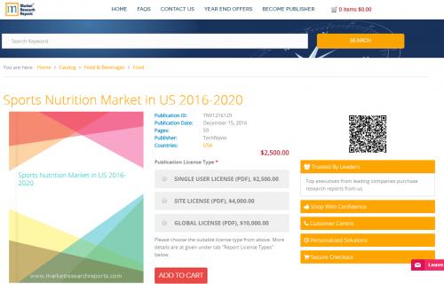 Sports Nutrition Market in US 2016 - 2020'