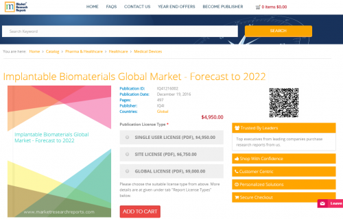 Implantable Biomaterials Global Market - Forecast to 2022'