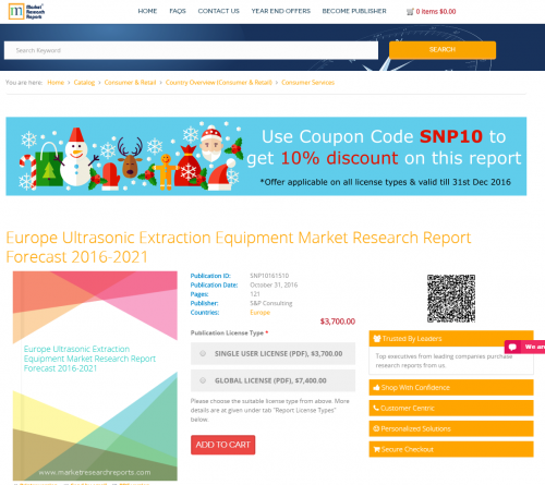Europe Ultrasonic Extraction Equipment Market Research 2021'