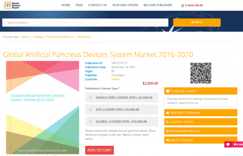 Global Artificial Pancreas Devices System Market 2016 - 2020'