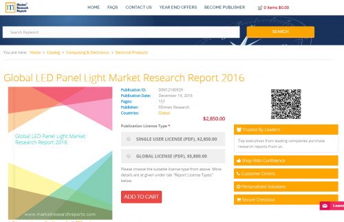 Global LED Panel Light Market Research Report 2016'