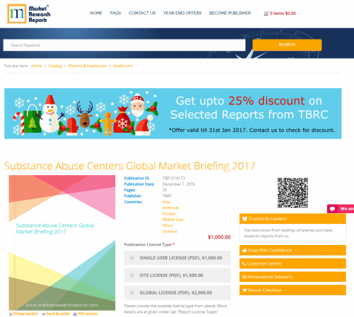 Substance Abuse Centers Global Market Briefing 2017'