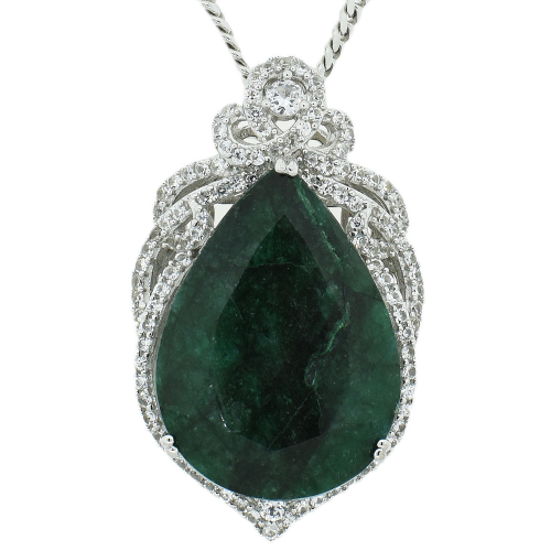 54.87ct Emerald/Beryl and 2.56ctw Sapphire Pendant/Necklace'