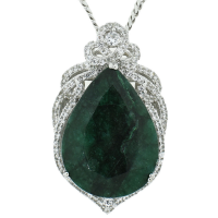 54.87ct Emerald/Beryl and 2.56ctw Sapphire Pendant/Necklace