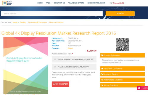 Global 4k Display Resolution Market Research Report 2016'