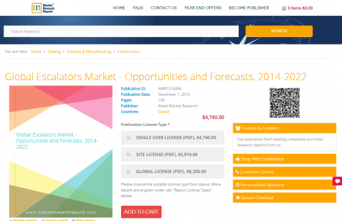 Global Escalators Market - Opportunities and Forecasts, 2014'
