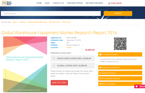 Global Warehouse Equipment Market Research Report 2016'