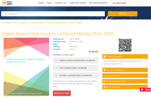 Global Natural and Organic Tampons Market 2016 - 2020'
