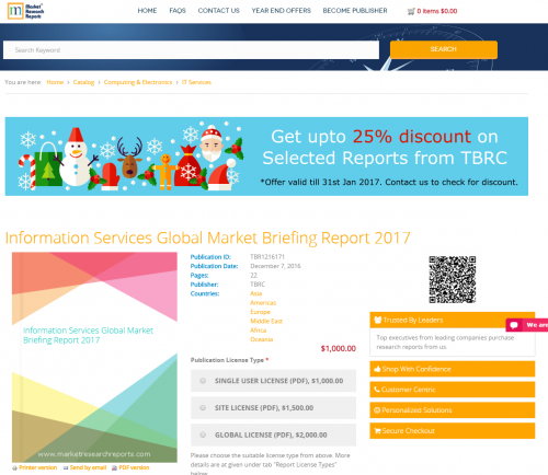 Information Services Global Market Briefing Report 2017'