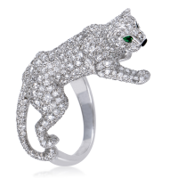 Cartier Panthere Diamond Pave Emerald and Onyx Ring