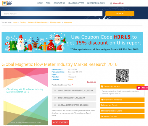 Global Magnetic Flow Meter Industry Market Research 2016'