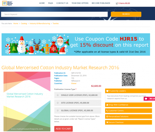 Global Mercerised Cotton Industry Market Research 2016'
