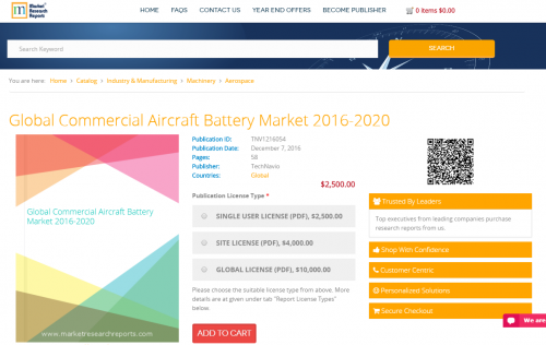 Global Commercial Aircraft Battery Market 2016 - 2020'