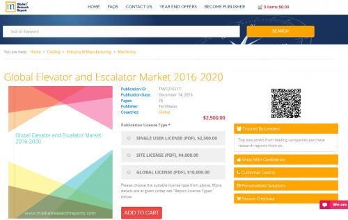 Global Elevator and Escalator Market 2016 - 2020'