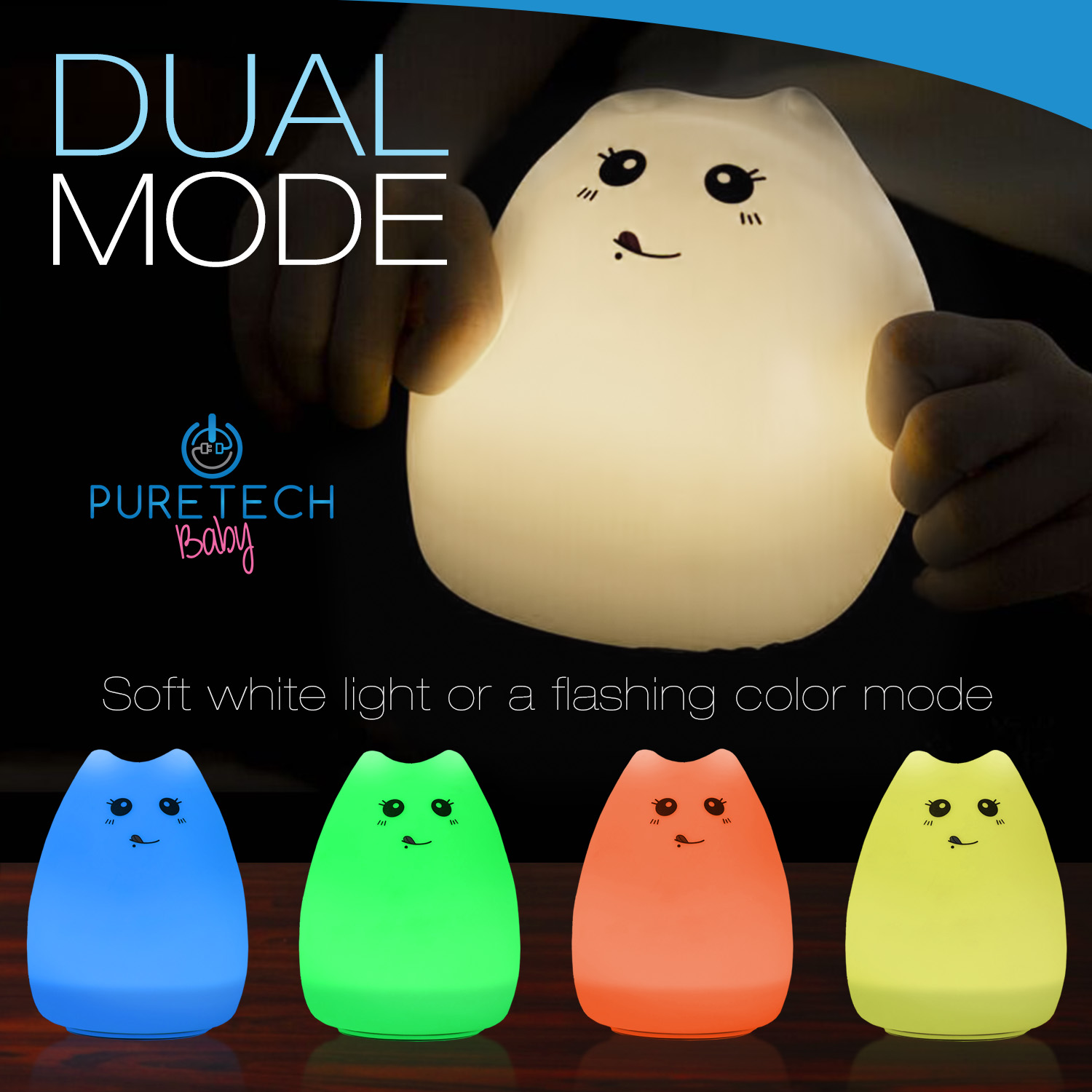DUAL MODE — Soft white light or a flashing color m