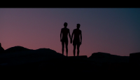 Silhouette of two main actors