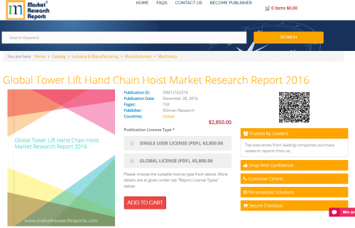 Global Tower Lift Hand Chain Hoist Market Research Report'