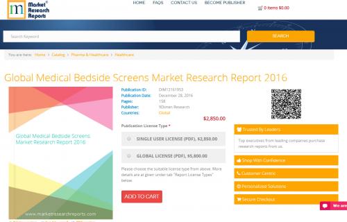 Global Medical Bedside Screens Market Research Report 2016'