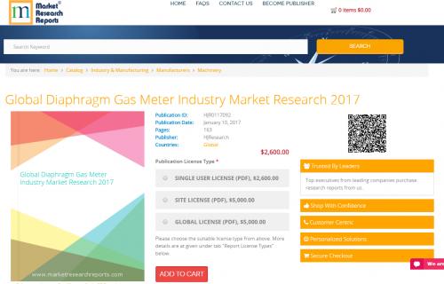 Global Diaphragm Gas Meter Industry Market Research 2017'