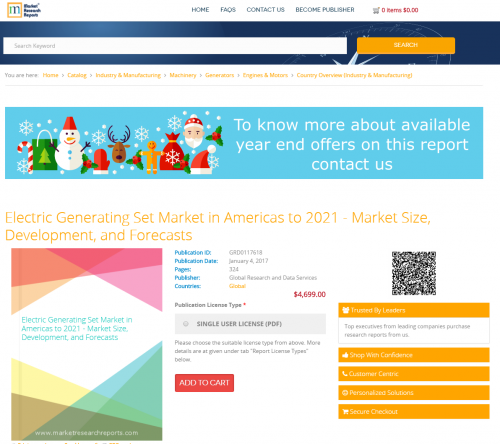 Electric Generating Set Market in Americas to 2021'