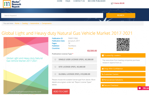 Global Light and Heavy duty Natural Gas Vehicle Market 2017'