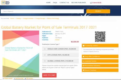 Global Battery Market for Point of Sale Terminals 2017-2021'