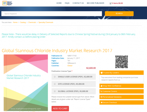 Global Stannous Chloride Industry Market Research 2017'