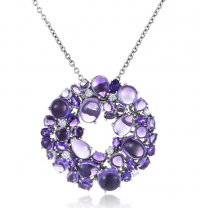 Shanghai 18K White Gold Diamond and Amethyst Necklac