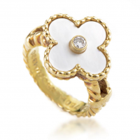 Alhambra Yellow Gold Diamond & Mother of Pearl Flowe