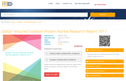 Global Textured Soybean Protein Market Research Report 2017'