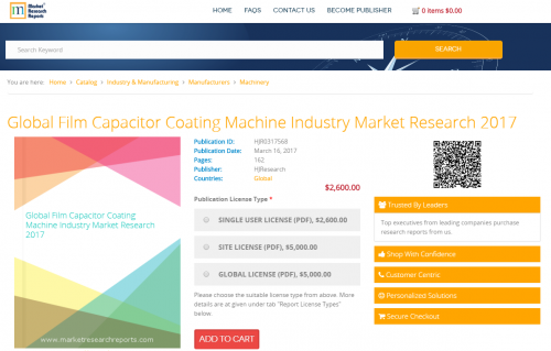 Global Film Capacitor Coating Machine Industry Market 2017'