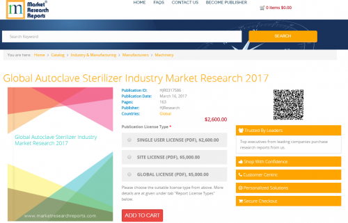 Global Autoclave Sterilizer Industry Market Research 2017'