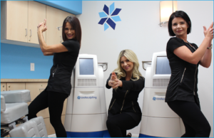 Tiffany, Jackie and Olivia posing in CoolSculpting room'