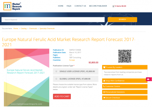 Europe Natural Ferulic Acid Market Research Report Forecast'