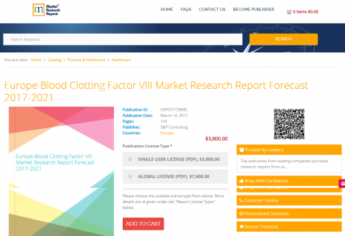 Europe Blood Clotting Factor VIII Market Research Report'