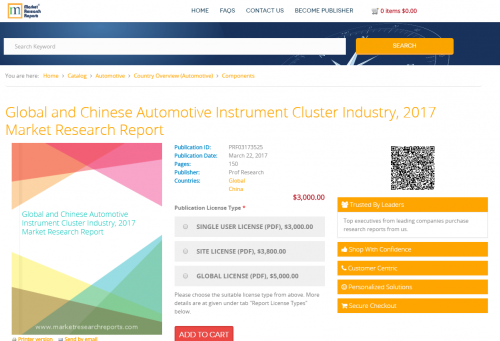 Global and Chinese Automotive Instrument Cluster Industry'