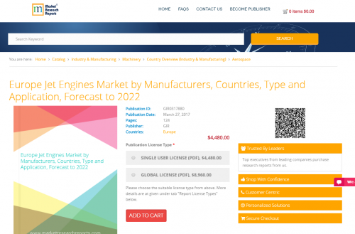 Europe Jet Engines Market by Manufacturers, Countries 2022'