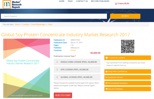 Global Soy Protein Concentrate Industry Market Research 2017'