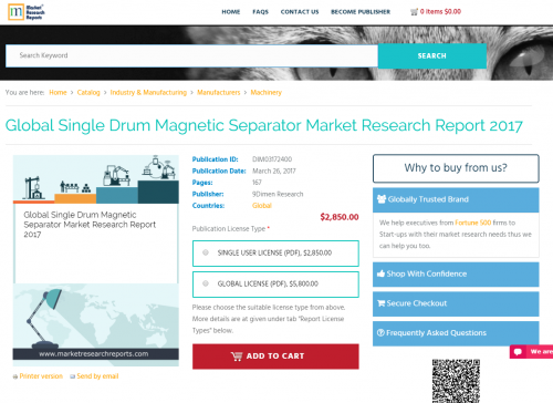 Global Single Drum Magnetic Separator Market Research Report'