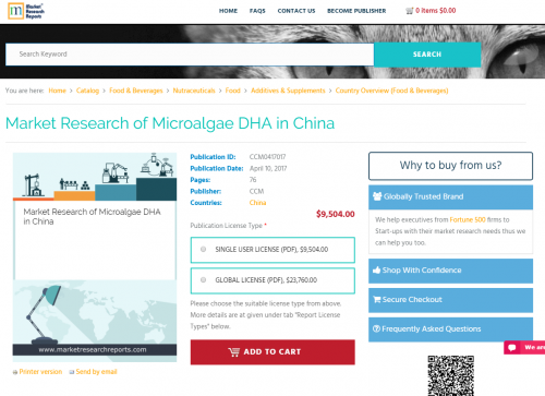Market Research of Microalgae DHA in China'