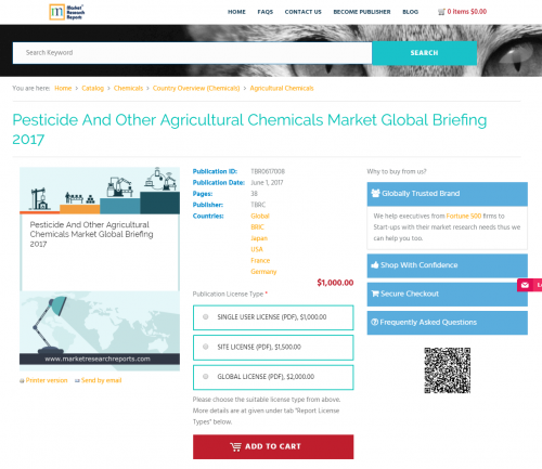 Pesticide And Other Agricultural Chemicals Market Global Bri'