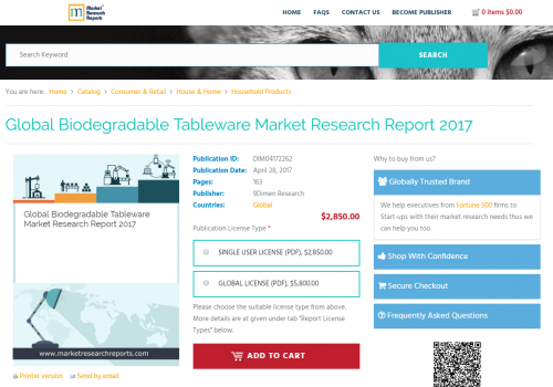 Global Biodegradable Tableware Market Research Report 2017'
