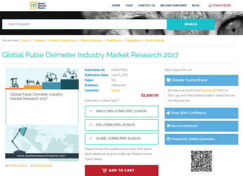 Global Pulse Oximeter Industry Market Research 2017'