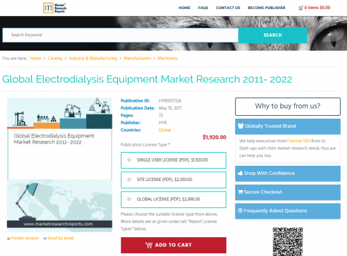 Global Electrodialysis Equipment Market Research 2011 - 2022'