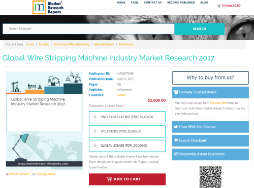Global Wire Stripping Machine Industry Market Research 2017'
