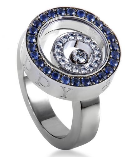 Happy Spirit 18K White Gold Sapphire Pave and Floating Diamo'