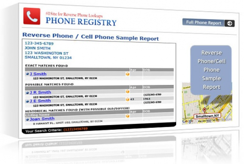 Sample of a completed cell phone number trace.'