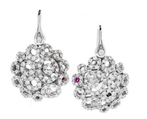 Mauresque Womens 18K White Gold Diamond Pave Dangle Earrings'